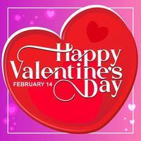 Elegante Textart des glücklichen Valentinstags im Herzen