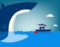 Affärsman flyr från haj på ett båt