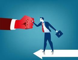 Kämpfendes Hindernis des Geschäftsmannes in Form von roter Hand