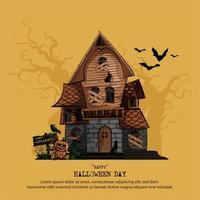 Halloween-hemsökt hus med kopieringsutrymme för text