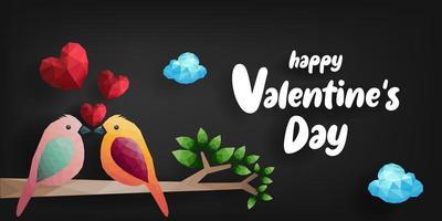 Fåglar och hjärtan på gren gjorda i polygonala former