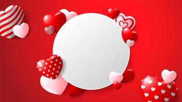 Leerer Kreis-Rahmen mit kopierten Herzen auf rotem Hintergrund vektor