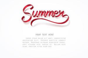 Rött band med bokstäver för sommar kalligrafi