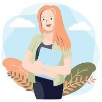 junge Frau, die Laptop vor Himmel und Laub hält