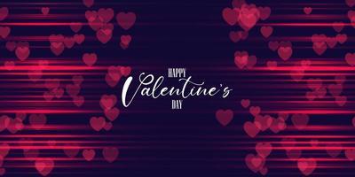 Valentinsgrußtagesfahnendesign mit Herzen und unscharfen roten Linien vektor