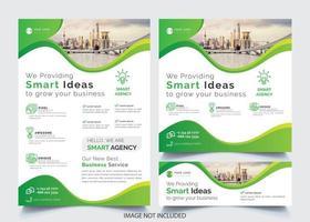 Grünes gewelltes Design-Geschäfts-Flieger-Schablonen-Set