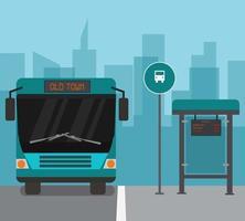 Moderner Stadtbusbahnhof und Schnellbus vektor
