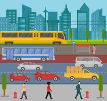 Stadtbild mit beschäftigtem Verkehr und Fußgängern auf dem Bürgersteig vektor