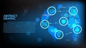 Globales abstraktes digitales Geschäft und Technologie Hightech- Konzeptweltkarte