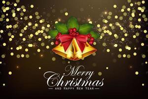Julbakgrund guldklockor och järnekbär vektor