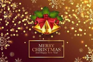 Goldene Glocken und Stechpalmenbeeren des Weihnachtshintergrundes