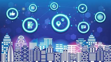 Intelligente Stadt und Radioapparat der abstrakten Technologiesocial media-Innovation