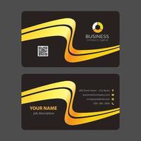 Abstrakt moderna gula kurvor svart visitkort