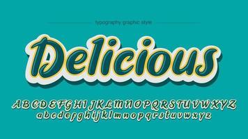 Abgerundete glänzende 3D-Kalligraphie-Schriftart vektor