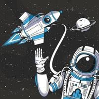 Astronaut in der Raumzeichnungskarikatur vektor