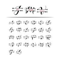 Uppsättning av initial kärlek monogram delad bokstav