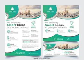 Grön böjd designreklamblad vektor