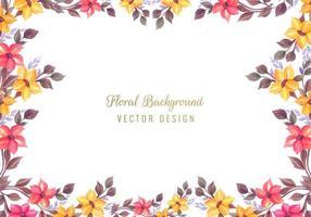dekorativa färgglada blommor ram bakgrund vektor