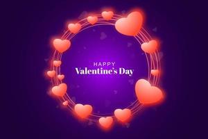 Glänzender Rahmen mit Herzen für Valentinstag auf purpurrotem glühendem Hintergrund vektor