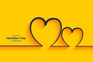Minimalistiska gula hjärtans valentins dagkortdesign vektor