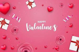 Rosa Valentinstagfahne mit roten Herzen, Rosen, Geschenkboxen und Konfettis