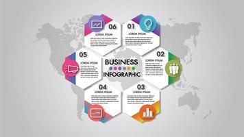 Infographics diagram för organisation för 6 steg för affärsvektorillustration