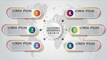 Buntes Geschäftsdesign Infographic 6 Schritte
