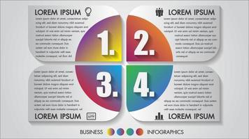 Business-Infografiken mit mehrfarbigen 4-Schritt-Symbolen
