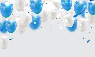 blå och vita ballonger, firande bakgrund vektor