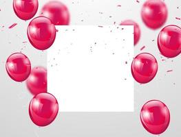 rosa Ballone und weißer quadratischer Raum für Text, Feierhintergrund