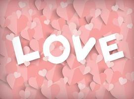 Rosa bakgrund för alla hjärtans dag med papperssnitthjärtor och kärlektext vektor