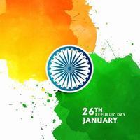 Stilvoller Aquarellhintergrund des indischen Flaggenthemas vektor