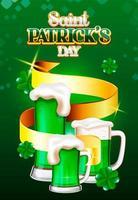 Grön öl för Saint Patrick's Day och bakgrund för golderband