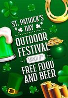 St Patrick Tagesplakat mit grünem Bier, großem Kessel, Hufeisen und Münzen