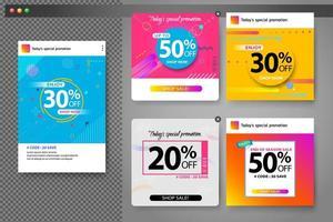 Minsta färgglada geometriska försäljningsbannersuppsättning för mallar för sociala medier