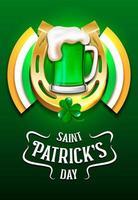 Glückliche St Patrick Tagesschablone mit Bier und Hufeisen