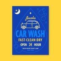 Blå bil tvätt tecken reklamblad vektor