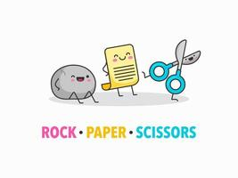 Cartoon Rock Paper Scissors Vektor Zeichen
