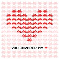 Raum-Eindringlinge Valentine Card Vector