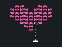 Herz Space Invaders Vektor Hintergrund