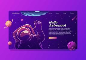 Hallo Waving Astronaut Landing Page