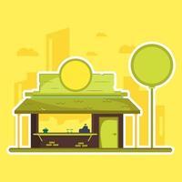 Geschäft oder Lebensmittel klemmt errichtende flache Illustration fest