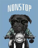 svart mops ridning motorcykel illustration