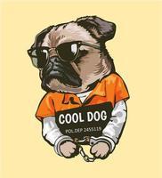 tecknad mops hund i fängelsedräkt med tecken