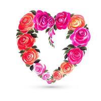 Dekoratives buntes Valentinstagblumenherzform-Kartendesign vektor
