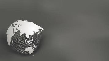 Världskarta papperssnitt stil på vit nät sfär på mörkgrå