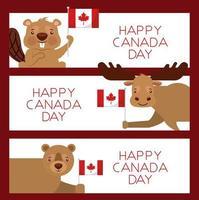 glad Kanada dag djur kortuppsättning vektor