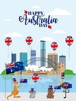 djur australien dag firande vektor