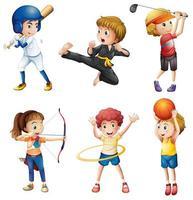 Tonåringar som deltar i olika aktiviteter tecknad