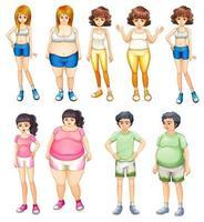 Übergewichtige und dünne Menschen vektor
